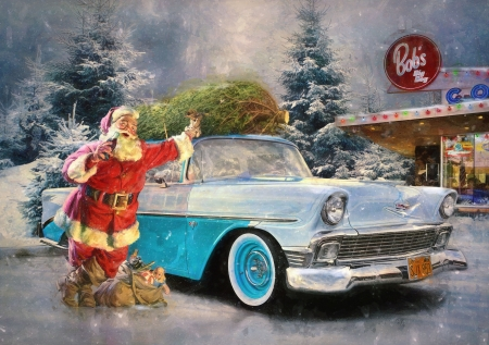 Santa - blue, car, vintage, painting, pictura, craciun, old man, christmas, red, art, santa, luminos