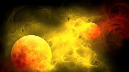 planets - abstract, space, planets, gas