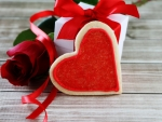 Rose gift and hearts