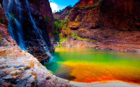 Colorful View - rocks, mountains, nature, water