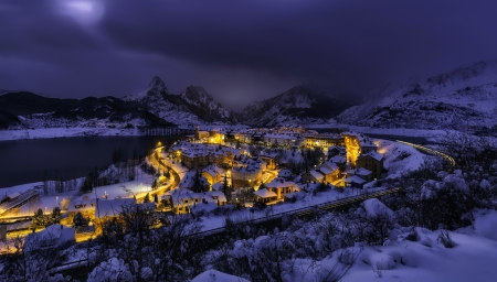 Winter in Spain - town, view, winter, frost, night, snow, peaceful, landscape, mountain, light, village, Spain
