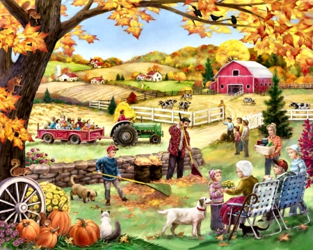 Countryside Autumn FC - landscape, crops, painting, scenery, illustration, art, architecture, artwork, wide screen, farm, beautiful, planting