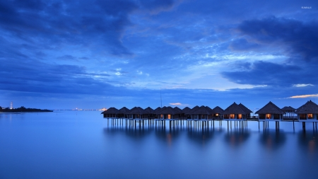 Bungalows in the Blue Sunset - nature, clouds, sunset, sea, bungalows, sky, ocean