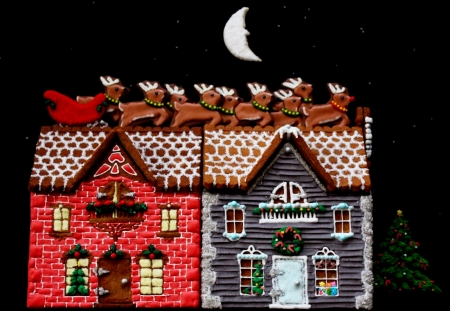 9 Reindeer On Gingerbread House Roof