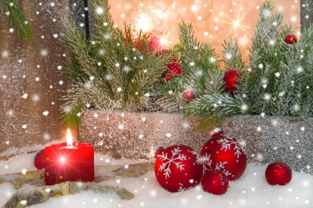 Christmas Decorations - Snow, Candle light, New year, Holiday