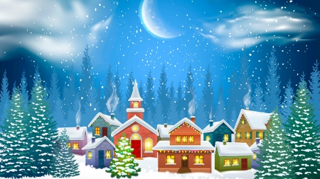 Ready for Santa - cottages, forest, trees, christmas tree, feliz navidad, moon, winter, houses, snow, Firefox Persona theme, village, neighborhood
