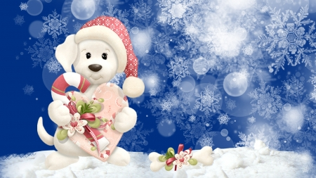 Puppy Dog Holliday - hearts, snowflakes, feliz navidad, christmas, cookies, sweet, Firefox Persona theme, wintrer, dog, pupppy