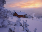 Winter House at Sunset