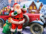 Santa Claus With Classic Car