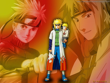 yondaime with child naruto - naruto, anime