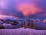 Winter Mountains and Crater Lake at Twilight