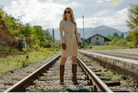 Boots On The Tracks . . - style, women, boots, blondes, outdoors, fashion, railroad tracks, western, cowgirl, movies, female