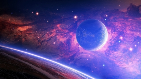Planet - fantasy, space, pink, blue, luminos, purple, cosmos, planet