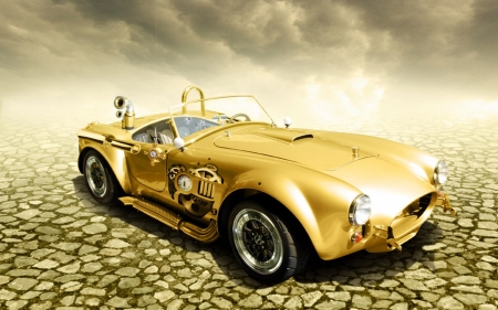 Steampunk Golden Car - gold, car, Steampunk, fantasy, Automobile, road