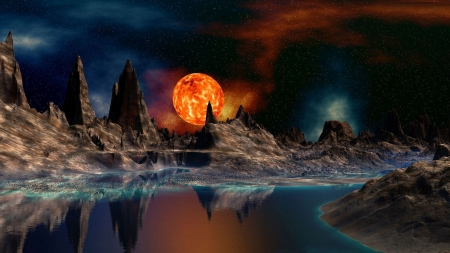 Red Moon - mountains, rocks, reflection, mysterious, fantasy, moon, stars, red moon, lake, sky