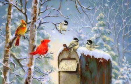 Tidings Holidays - mailbox, birds, paintings, winter, animals, snow, xmas and new year, attractions in dreams, love four seasons, Christmas Tree, holidays, winter holidays, Christmas