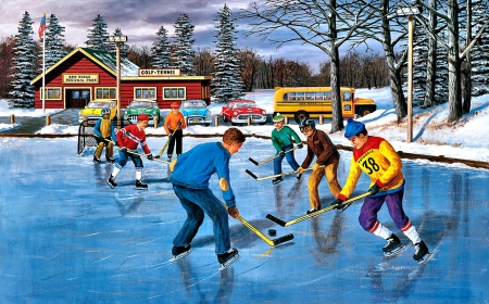 Saturday Practice - Hockey - art, illustration, wide screen, painting, artwork, beautiful, scenery, sports, hockey