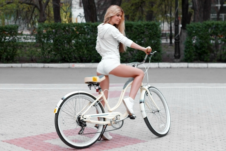 Taking the Bike out for a Spin - bicycle, model, shorts, blonde