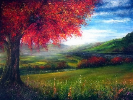 Autumn Fields - fall season, attractions in dreams, draw and paint, love four seasons, paintings, nature, fields, trees, landscapes, autumn