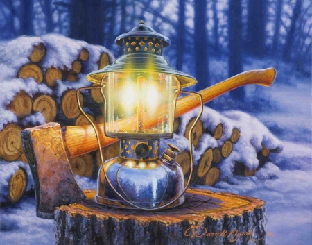 Fuel For The Fire - snow, ax, lantern, painting, artwork, forest