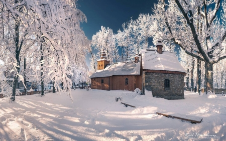 Winter in Zakopane, Poland - Poland, trees, frost, winter, church, snow