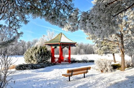 Winter park - rest, winter, frost, snow, beautiful, park, gazebo, bench