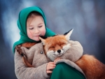 Little girl with fox