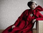 Vintage Lady in Red Coat