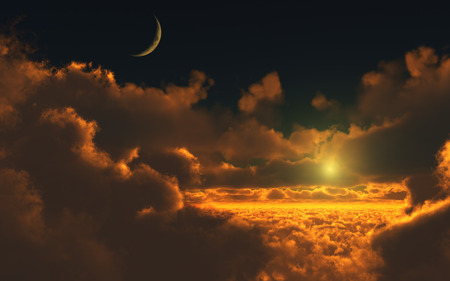 Sunset over the clouds - skies, sky, horizon, blue, color, red color, up, billows, clouds, sunset, moon, sun, nature, cloudscape