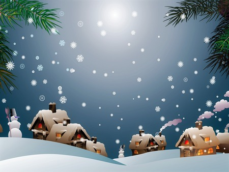 Snowman Village - painting, houses, christmas, smoke, snowflakes, village, snow, snowmen, winter, holiday, snowman