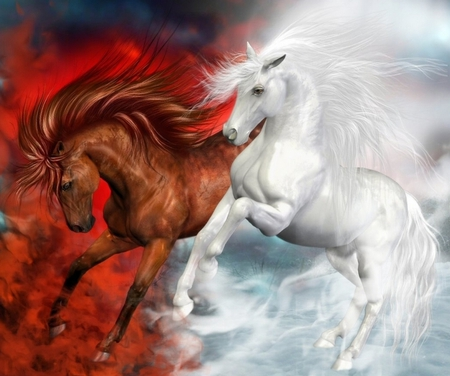 Beautiful Horses - fire, clouds, power, animals, smoke, nice, white horse, horses, horse, lovely, fantasy horse, in clouds, white, colors, fantasy, red, beauty, abstract, fantasy horses, colorful, love, beautiful, pretty, two