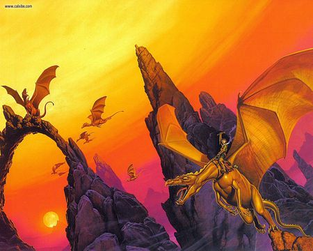 Moreta - michael whelan, orange, sunset, rocks, abstract, fantasy, dragons