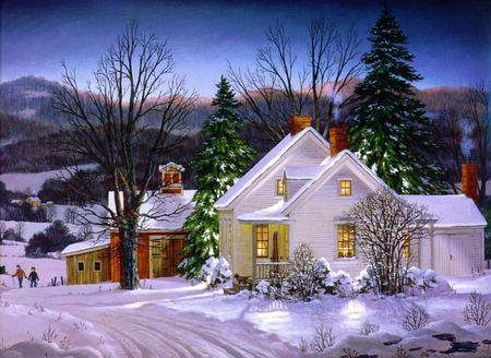 Cold Winter's Eve - christmas, winter, houses, mountains, sunset, snow, trees