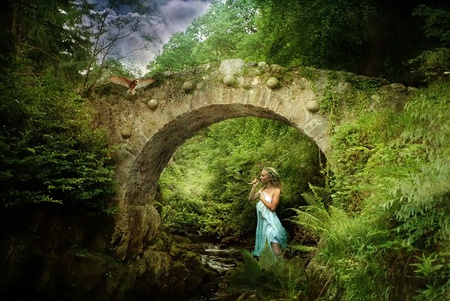 River girl - flowers, woman, fairy, forest, birds