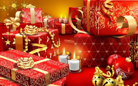 All yours!!! - gifts, candles, cute, ribbon, lovely, merry christmas, christmas, gift box, boxes, love, red, gift