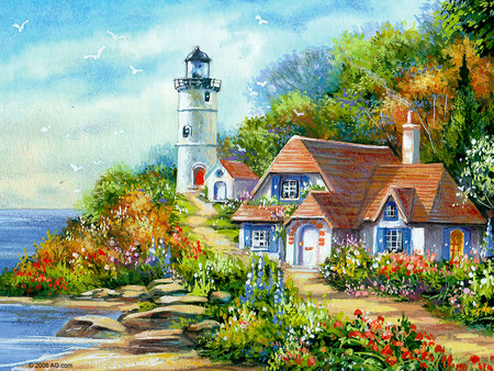 Light house cottage other abstract background for Watercolor cottages