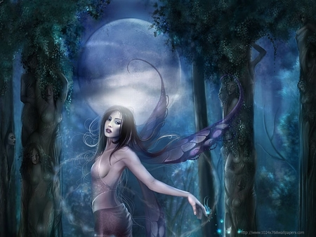 Fantasy Fairy - wings, darkness, trees, night, beautiful angel in forest, girl, woman, moon, fairy, grass, forest, fantasy, dress, fantasey art