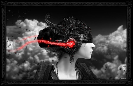 Just Music - darkness, future, abstract, art, women, girl, dark, nice, artwork, fantasy, entertainment, mp3, black and white, light, clouds, 3d, music, beautiful, tear, she, beauty, lady, woman, blood, white, grey, red, helmet, black, head, cyborg, lovely, tears, photography, the, cg