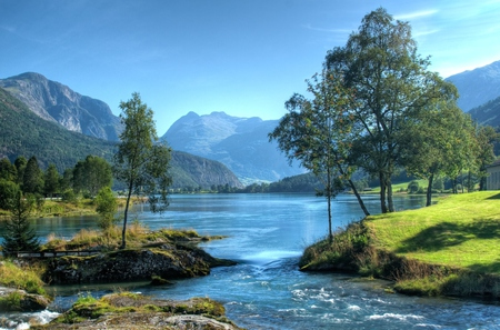 landscape xxx - lake, grass, mountain, trees