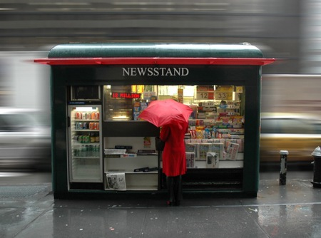 newsstand - red, umbrella, rainy day