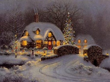 CHRISTMAS HOUSE - painting, lights, festival, winter, holiday, christmas, night, cottage