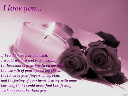 For My True Love - pink, lavender, candle, roses, flame, love