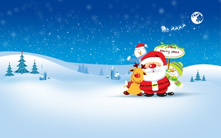 Merry Christmas! - december, penguin, trees, santa, houses, oranment, christmas, deer, snow, winter, holiday, snowman