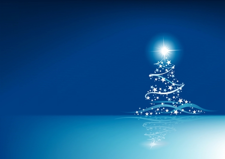 A Blue Christmas - christmas, blue, stars, holiday, tree, white