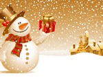 Christmas Snowman In Gold