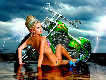 BROOKE WITH CHOPPER - motorcycles, girls