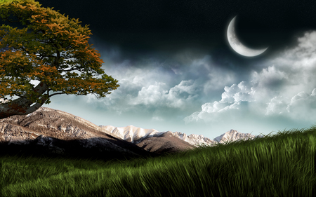 Moon, Mountains, Clouds - clouds, widescreen, moon, sky, mountains
