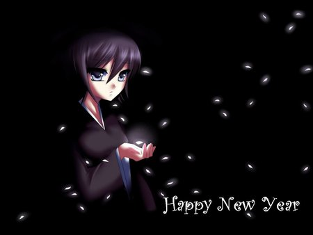 Waiting new year - cute, new year, anime