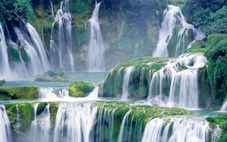 Amazing Lush Green Waterfall         - nature, earth, waterfall, river