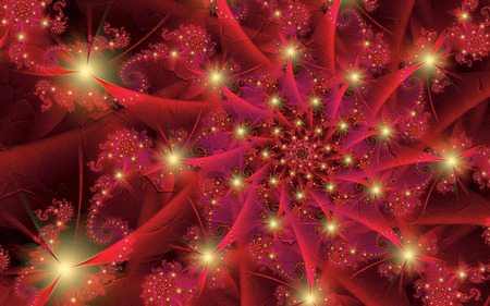 Red Shift - colorful, red, leaves, lights, fractals, spiral